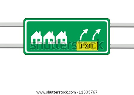 vector illustration of green informative road sign of several houses - stock vector