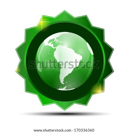 Vector Illustration of Green Label with Globe Map - stock vector