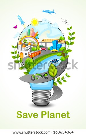 vector illustration of green light eco concept - stock vector