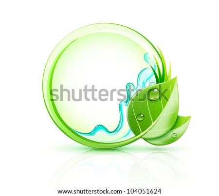Vector illustration of green plant concept with green leaves and blank round frame - stock vector