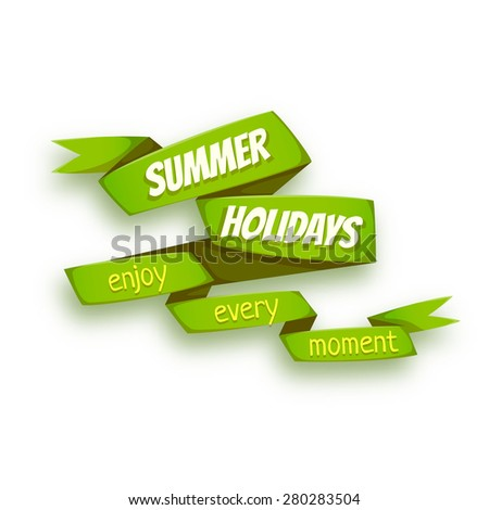 Vector illustration of green ribbon with Summer Holidays title.