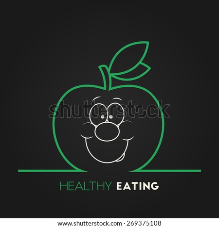 Vector illustration of green ripe apple with smiley face for your design - stock vector