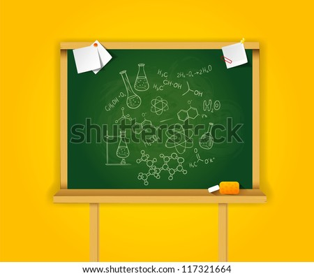 Vector illustration of Green school boards on yellow background - stock vector
