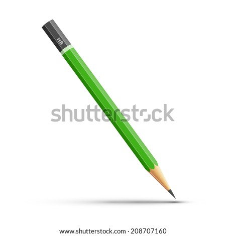 Vector illustration of green sharpened pencil isolated on white background