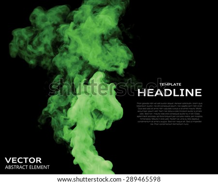 Vector illustration of green smoke elements on black. Use it as a background in your design projects. - stock vector