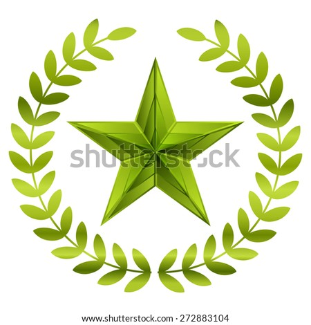 Vector illustration of green star - stock vector