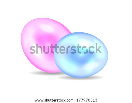 Vector illustration of greeting card with different easter eggs