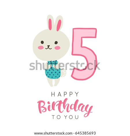 Vector Illustration Greeting Card Happy Birthday Stock Vector