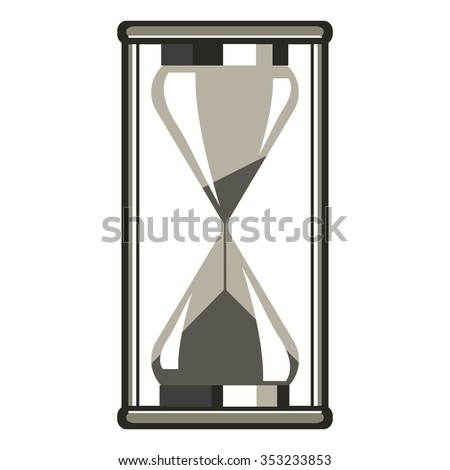Vector illustration of grey hourglass, isolated on the white background
