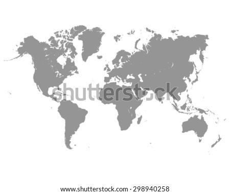 Vector illustration of grey world map  - stock vector