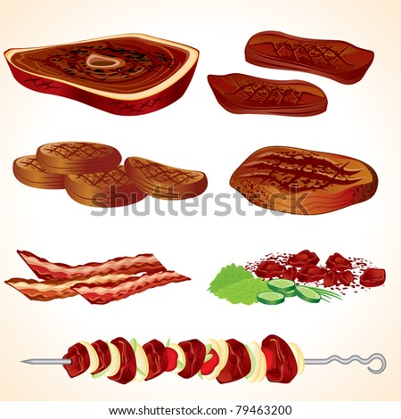 Vector Illustration of Grilled and bbq  Meat, Bacon, Burgers, Steaks, Shish kebab...