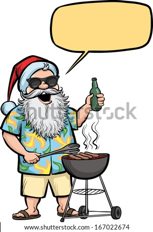 Vector illustration of Grilling  Santa with barbecue and beer. Easy-edit layered vector EPS10 file scalable to any size without quality loss. High resolution raster JPG file is included.  - stock vector