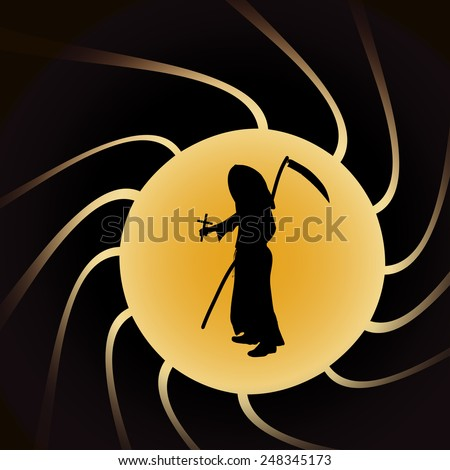 Vector illustration of Grim Reaper on a yellow background.
