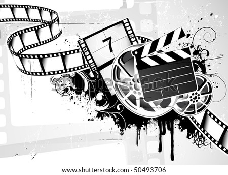 Vector illustration of grunge abstract  Background with Design element for movie film theme design - stock vector