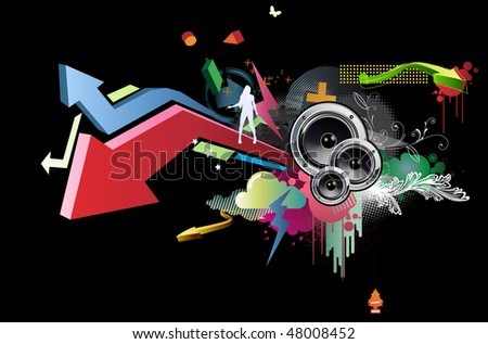 Vector illustration of grunge abstract party Background with music design elements