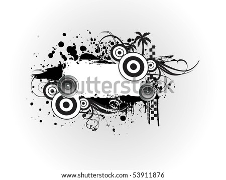 vector illustration of grungy musical photo frame - stock vector