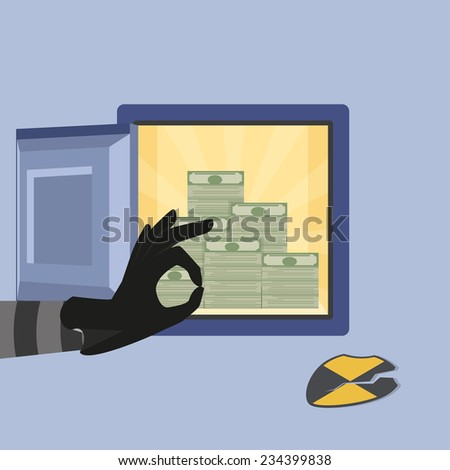 Vector illustration of hacking bank safe with open safe - stock vector