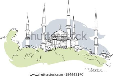 Vector illustration of Hagia Sofia in Istanbul, Turkey, isolated - stock vector