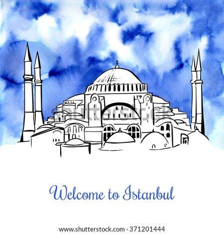 Vector illustration of Hagia Sophia in Turkey with black outline and watercolor blue background. Hand drawn cityscape with famous turkish landmark. Welcome to Istanbul card and poster design. - stock vector