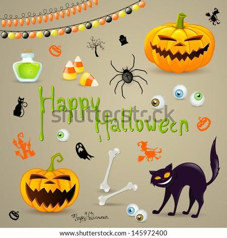 Vector Illustration of Halloween Design Elements - stock vector