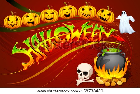 vector illustration of Halloween poster with glowing pumpkin - stock vector