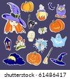 Vector illustration of Halloween stickers on violet background - stock vector