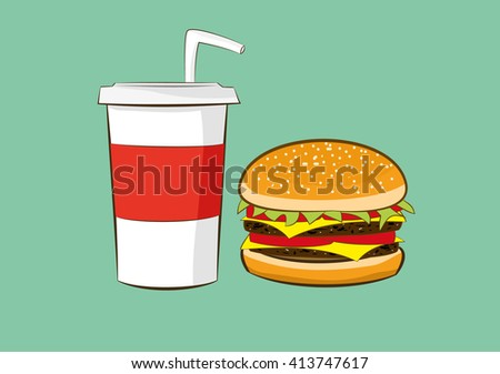vector illustration of hamburger with cola drink.fast food concept. eps 10