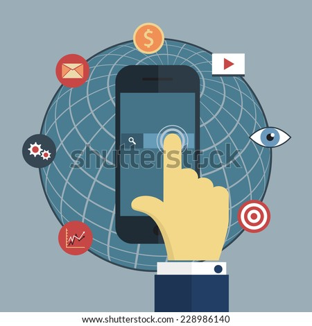 Vector illustration of hand click on screen smart phone, internet icons and planet sphere. EPS 8. click on the screen mobile phone. vector eps10 - stock vector