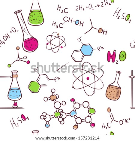 Vector illustration of Hand draw chemistry pattern - stock vector