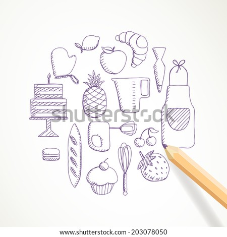 Vector Illustration of Hand Drawn Bakery Elements - stock vector