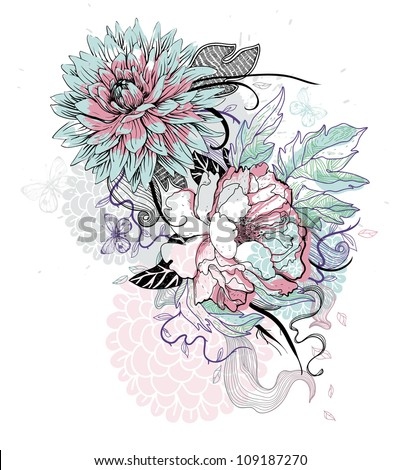 vector illustration of hand drawn blooming flowers - stock vector