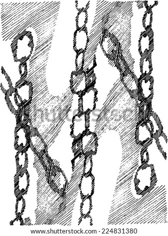 Vector illustration of hand drawn chain pattern / texture. - stock vector