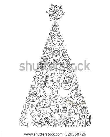 Vector Illustration Of Hand Drawn Christmas TreeColoring Page For Children And Adult