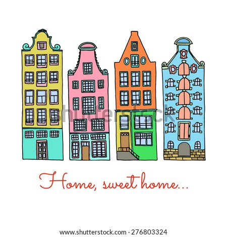 Vector illustration of hand drawn colorful european city houses. - stock vector