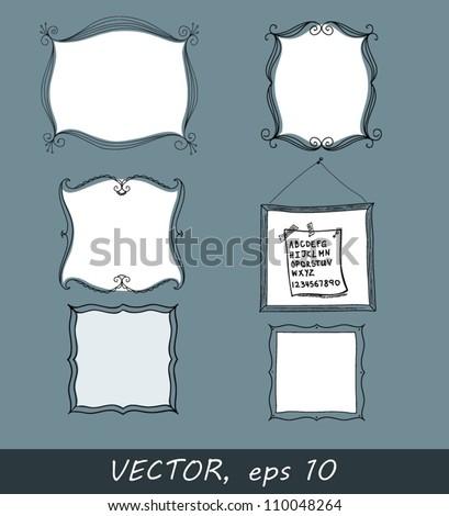 Vector illustration of hand drawn decorative frames, eps10 - stock vector