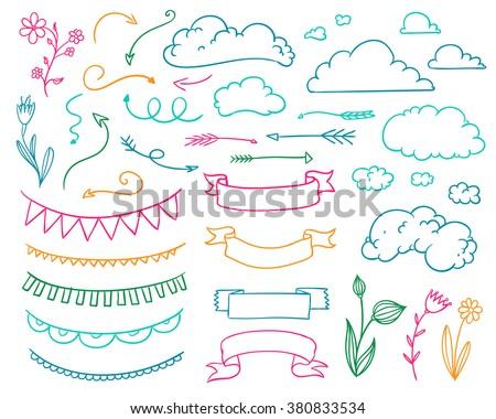 Vector Illustration of Hand Drawn Design Elements - stock vector