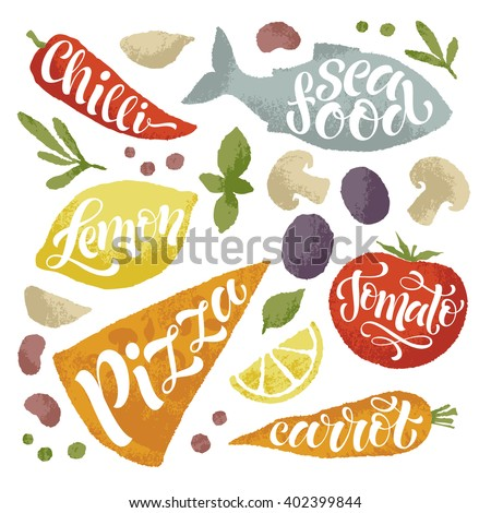 Vector illustration of hand drawn fruits and vegetables. Lettering  elements, calligraphic names of products. Eating set for farm, market, cafe design, menu and recipes. Healthy organic fresh food - stock vector