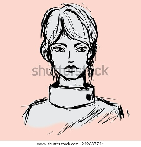 vector illustration of hand drawn girl, beautiful young woman