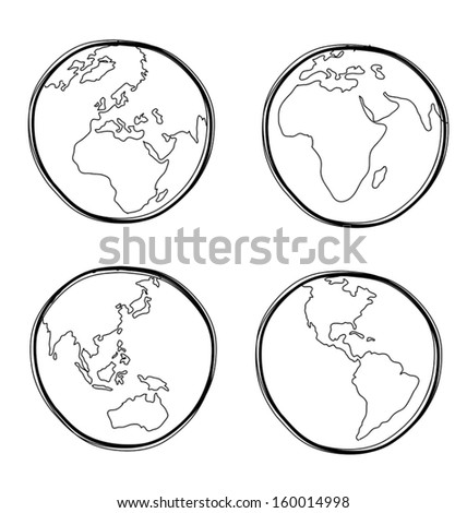 Vector illustration of  hand-drawn global - stock vector
