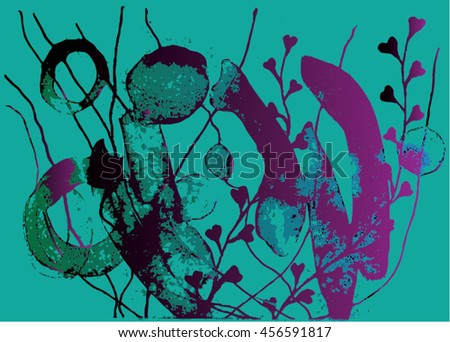 Vector illustration of hand drawn ink distressed grunge floral pattern. Abstract painted backdrop, background. Black, turquoise, purple.