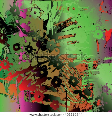 Vector illustration of hand drawn ink distressed grunge floral pattern. Colorful flower pattern, backdrop, background. Green, black, red, purple.. - stock vector