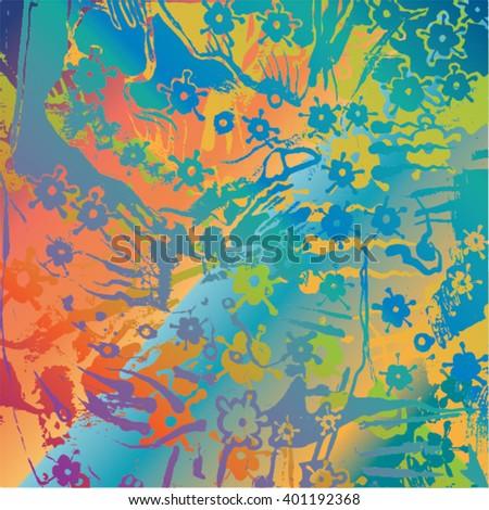 Vector illustration of hand drawn ink distressed grunge floral pattern. Colorful flower pattern, backdrop, background. Blue, orange, purple, green. - stock vector