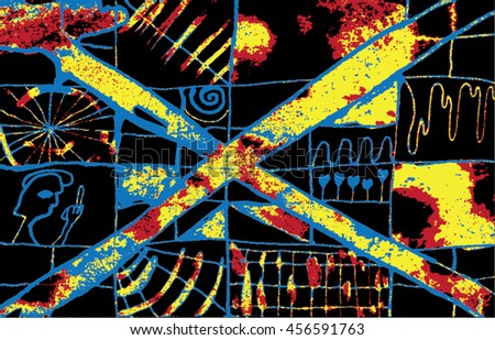Vector illustration of hand drawn ink distressed grunge pattern. Abstract painted backdrop, background. Cross, alien, spiral, space, universe, spaceship display. Black, blue, yellow, red, heat.