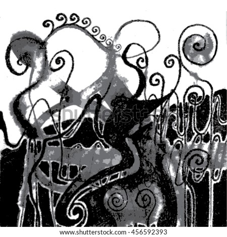 Vector illustration of hand drawn ink distressed grunge swirl pattern. Backdrop, background. Black & white.