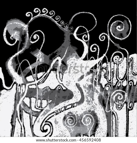 Vector illustration of hand drawn ink distressed grunge swirl pattern. Backdrop, background. Black & white. - stock vector