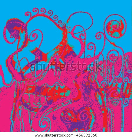 Vector illustration of hand drawn ink distressed grunge swirl pattern. Colorful backdrop, background. Pink, red, purple & turquoise.