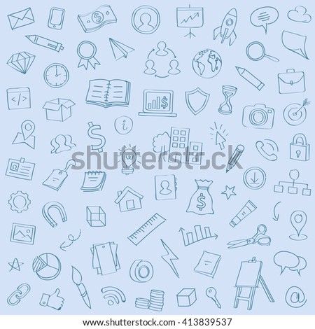 Vector illustration of hand drawn line icons for business, banking, contact, social media, technology, seo, logistic, education, sport, medicine, travel, weather, construction, arrow. Flat symbols set