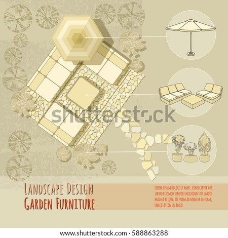 vector illustration of hand drawn lounge chairs under patio umbrella and flowers in pot garden