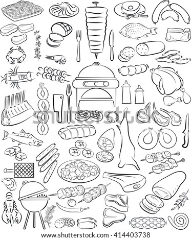 vector illustration of hand drawn meat elements set in line art mode - stock vector