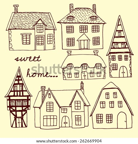 Vector illustration of hand drawn old country houses. Nice representatives of different european architectural styles. Cool design elements. - stock vector